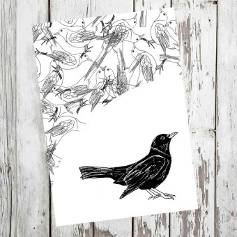 "playfulsolutions Notizheft mit Illustration ""Amsel"""