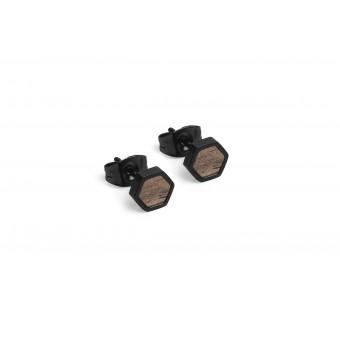 BeWooden Ohrringe, Ohrstecker mit Holzdetail - Apis Nox Earrings Hexagon