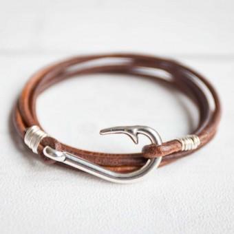 Oh Bracelet Berlin – Armband aus Leder mit Fischhaken Edelstahl weißvergoldet