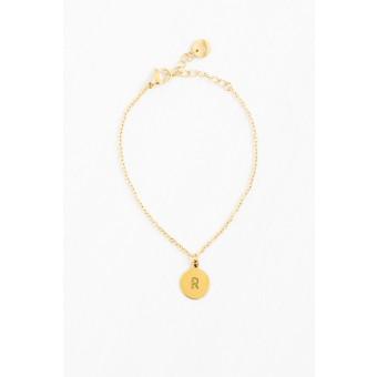 Oh Bracelet Berlin - Armkette »Letter« mit Wunschbuchstabe | handgeprägt | Farbe Gold