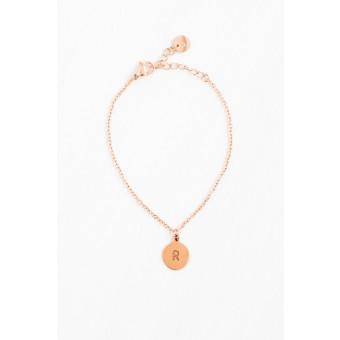 Oh Bracelet Berlin - Armkette »Letter« mit Wunschbuchstabe | handgeprägt | Farbe Rosegold