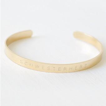 Oh Bracelet Berlin – Schmaler Armreif Schwesterherz aus Edelstahl vergoldet glänzend