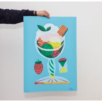 Martin Krusche – Stencil Artprint »Eisbecher Erdbeere« 50x70cm