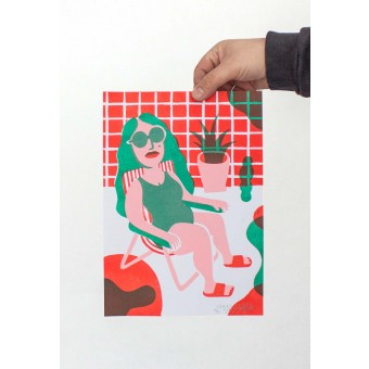 Martin Krusche – Artprint Stencil »Pool Lady« DINA4