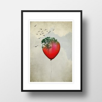 """Amy & Kurt Berlin A4 Artprint """"Red Balloon"""""""