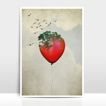 """Amy & Kurt Berlin A3 Artprint """"Red Balloon"""""""