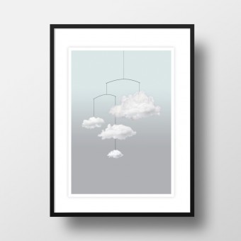 "Amy & Kurt Berlin A4 Artprint ""Wolkenmobile"""