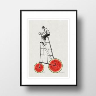"""Amy & Kurt Berlin A4 Artprint """"Melonenradler"""""""