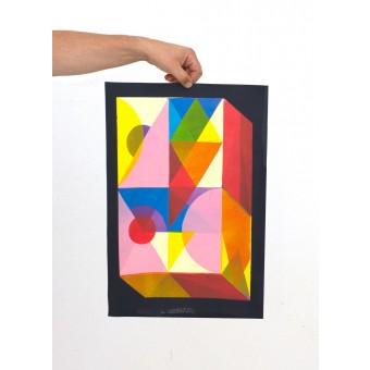Martin Krusche – Stencilprint »Quader 1« 35x50cm
