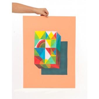 Martin Krusche – Stencilprint »Quader 2« 50x70cm