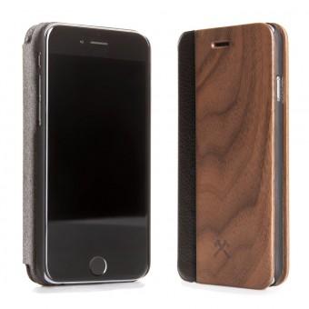 Woodcessories - EcoFlip Case - Premium Design Hülle, Case, Cover für das iPhone 7 / 8 aus FSC zert. Holz & veganem Leder & veganem Leder (Walnuss, Ahorn)