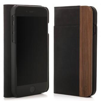 Woodcessories - EcoWallet - Premium Design Hülle, Case, Cover für das iPhone aus FSC zert. Walnuss Holz & veganem Leder (iPhone 7/ 8)