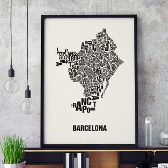 Buchstabenort Barcelona Stadtteile-Poster Typografie Siebdruck