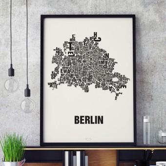 Buchstabenort Berlin Poster Typografie Siebdruck