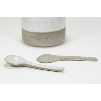 Löffel - handgemacht aus Keramik betongrau - Anita Riesch
