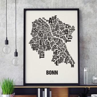 Buchstabenort Bonn Stadtteile-Poster Typografie Siebdruck