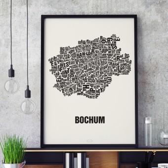 Buchstabenort Bochum Stadtteile-Poster Typografie Siebdruck