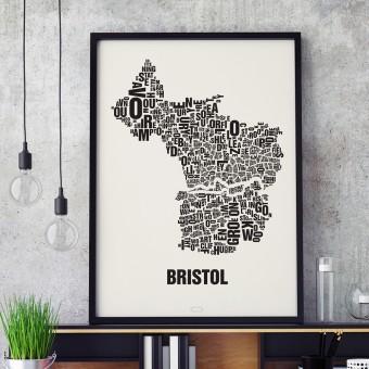 Buchstabenort Bristol Stadtteile-Poster Typografie Siebdruck