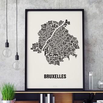 Buchstabenort Brüssel - Bruxelles Stadtteile-Poster Typografie Siebdruck