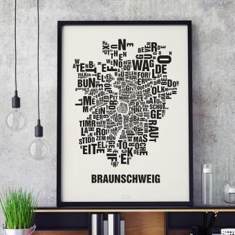 Buchstabenort Braunschweig Stadtteile-Poster Typografie Siebdruck