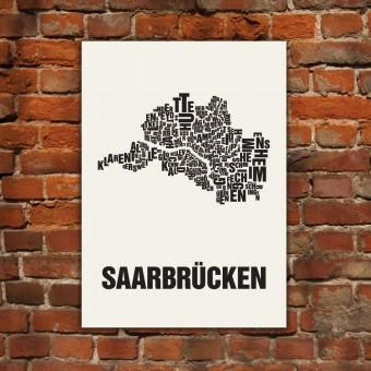 Buchstabenort Saarbrücken Stadtteile-Poster Typografie