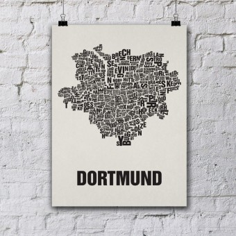 Buchstabenort Dortmund Stadtteile-Poster Typofgrafie