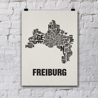 Buchstabenort Freiburg Stadtteile-Poster Typografie