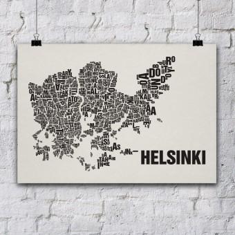 Buchstabenort Helsinki Stadtteile-Poster Typografie