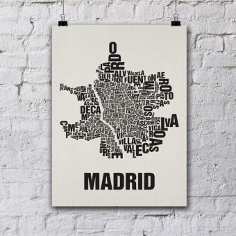 Buchstabenort Madrid Stadtteile-Poster Typografie