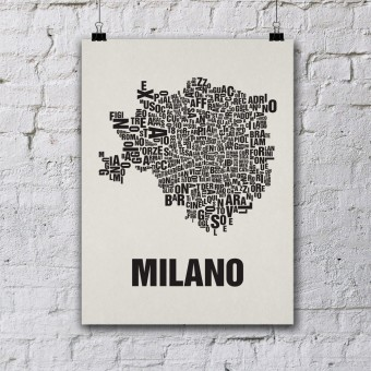 Buchstabenort Mailand Stadtteile-Poster Typografie