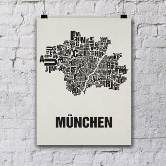 Buchstabenort München Stadtteile-Poster Typografie