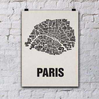 Buchstabenort Paris Stadtteile-Poster Typografie