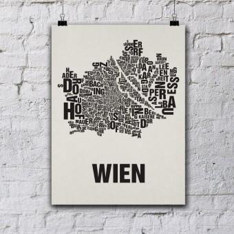 Buchstabenort Wien Stadtteile-Poster Typografie