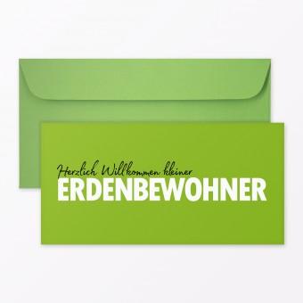 "TYPOP 2-teiliges Set Design BABYKARTE ""Willkommen Erdenbewohner"" DIN lang inkl. Umschlag"