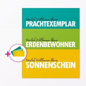 """TYPOP 3-teiliges Set Babykarte """"Willkommen"""" DIN lang inkl. Umschläge"""