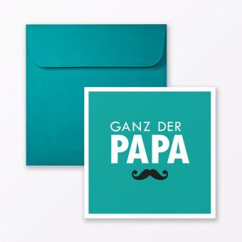 """TYPOP 2-teiliges Set Design BABYKARTE """"Ganz der Papa"""" Türkis quadratisch inkl. Umschlag"""