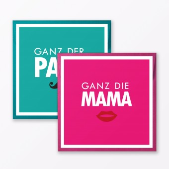 """TYPOP 2-teiliges Set Babykarte """"Ganz der Papa / Ganz die Mama"""" quadratisch inkl. Umschläge"""