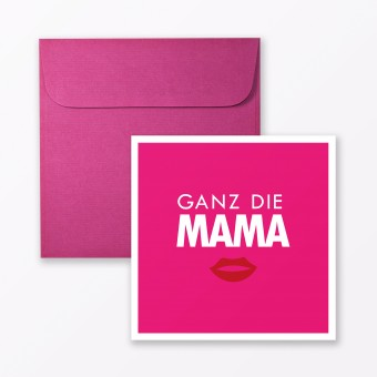 """TYPOP Babykarte """"Ganz die Mama"""" in Pink quadratisch inkl. Umschlag"""