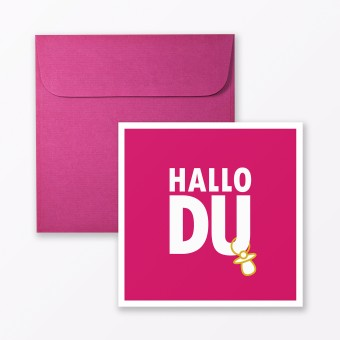 """TYPOP 2-teiliges Set Design BABYKARTE """"Hallo Du"""" Pink quadratisch inkl. Umschlag"""