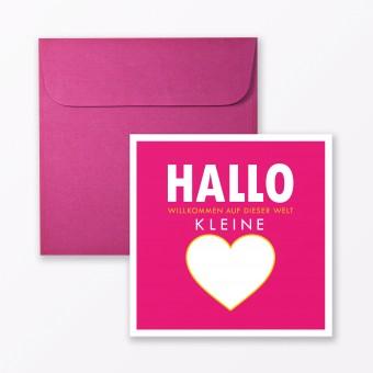 """TYPOP Babykarte """"Willkommen auf dieser Welt"""" in Pink quadratisch inkl. Umschlag"""