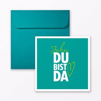 """TYPOP Babykarte """"Juhu Du bist da"""" in Türkis quadratisch inkl. Umschlag"""