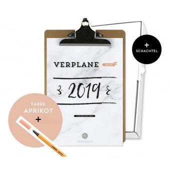 Design Verlag / Handlettering Jahresplaner Kalender 2019 Klemmbrett / Aprikot
