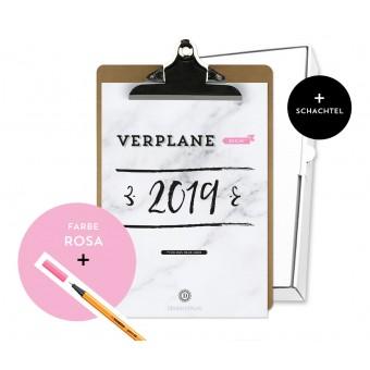 Design Verlag / Handlettering Jahresplaner Kalender 2019 Klemmbrett / Rosa