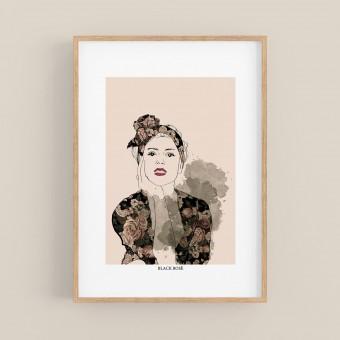 nathys illustration Digitalbild - Black Rosé DIN A4
