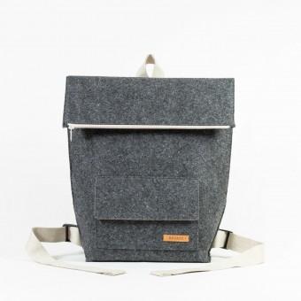 RÅVARE großer Rucksack aus Nadelfilz grau-beige [BORGE]