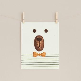hasenkinder - Aquarellbild Brummbär 18x24cm