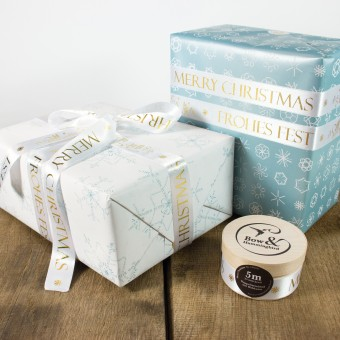 Bow & Hummingbird Schneeflocken Geschenkpapier-Set mit Satinband