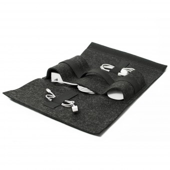 Buff-Accessory Bag Kabeltasche / Filz (charcoal) und Leder (schwarz) - Burning Love