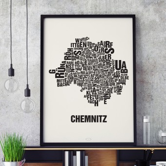 Buchstabenort Chemnitz Stadtteile-Poster Typografie Siebdruck