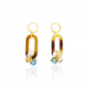 Valerie Chic - LANA Ohrringe - Goldbraun, 18 Karat vergoldet, Swarovski Kristalle, Süßwasserperlen, Büffelhorn